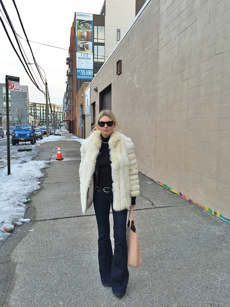 Fashion Over Reason in Brooklyn wearing J Brand Love Story Bell bottom jeans, vintage fur, Ray-Ban Wayfarers, Zara tote