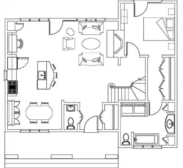 Plano de casa de dos plantas 3 dormitorios