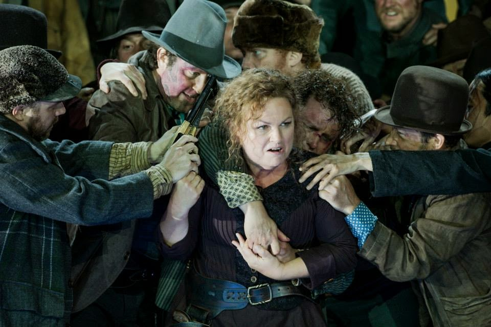 Susan Bullock and ENO chorus in The Girl of the Golden West - © Robert Workman