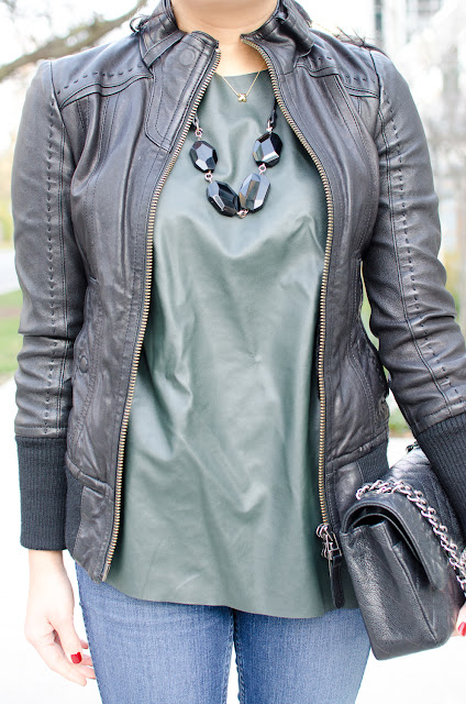 leather sweater, leather top, leather jacket, leather trend, Mackage leather jacket, Zara, Chanel classic flap