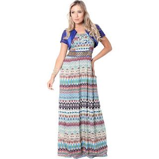 modelo de vestido longo com estampa étnica - dicas e fotos