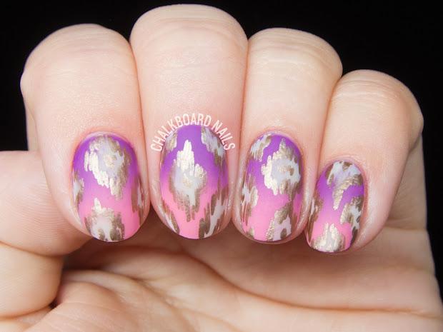 rose gold ikat patterned nails
