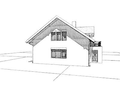 Architekt Rzeszow. Elewacja boczna. Dom jednorodzinny z poddaszem użytkowym.
