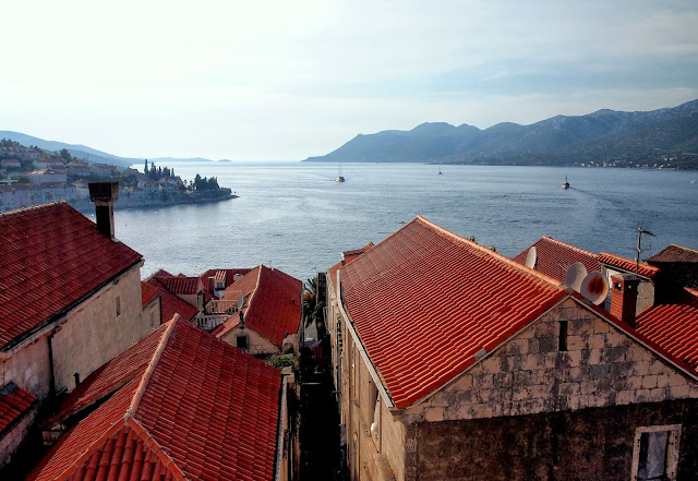 Looking out to sea from the bell tower, Korčula, Croatia