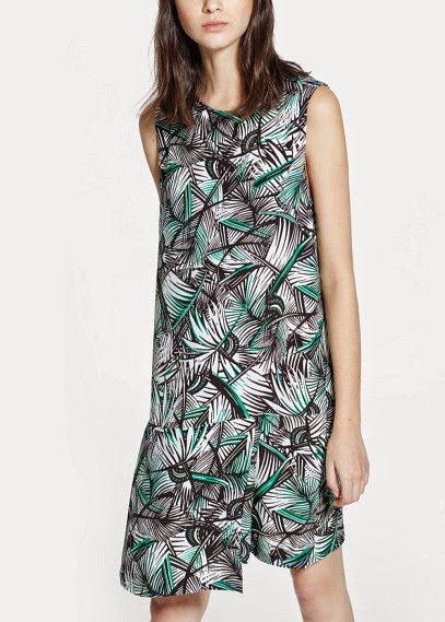 Mango 2015 Elbise Modelleri  desenli katlı kısa elbise, günlük elbise modeli