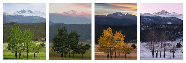 Four Seasons of Longs Peak in Rocky Mountain National Park Estes Park Colorado