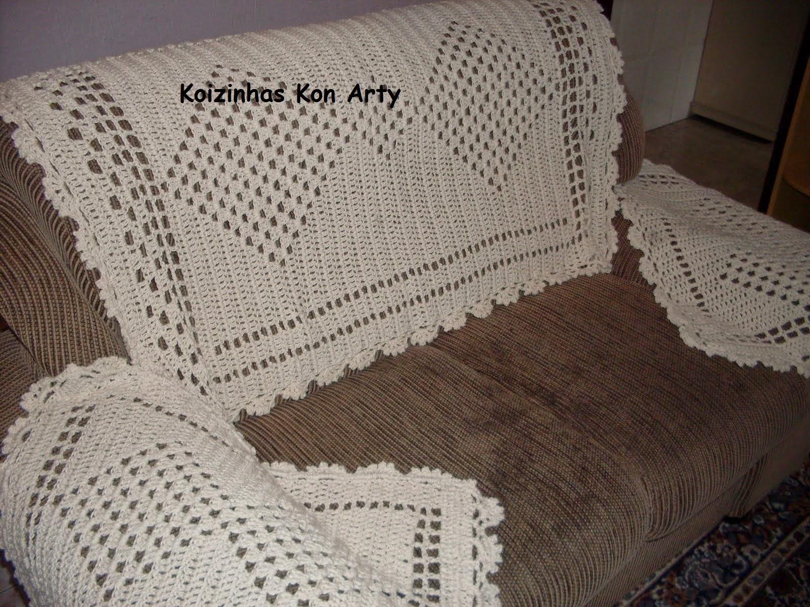 Koizinhas kon arty croch artesanato jogo de manta - Manta de sofa ...