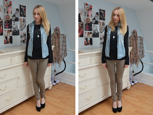 rw&amp;co casual saturday outfit of the day vero moda jeggings nine west suede pumps rock and republic sweater
