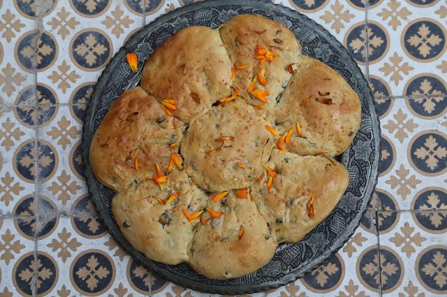 marigold and pumpkin seed focaccia