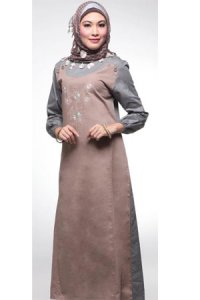 Najya Gamis J23 - Coklat Abu (Toko Jilbab dan Busana Muslimah Terbaru)