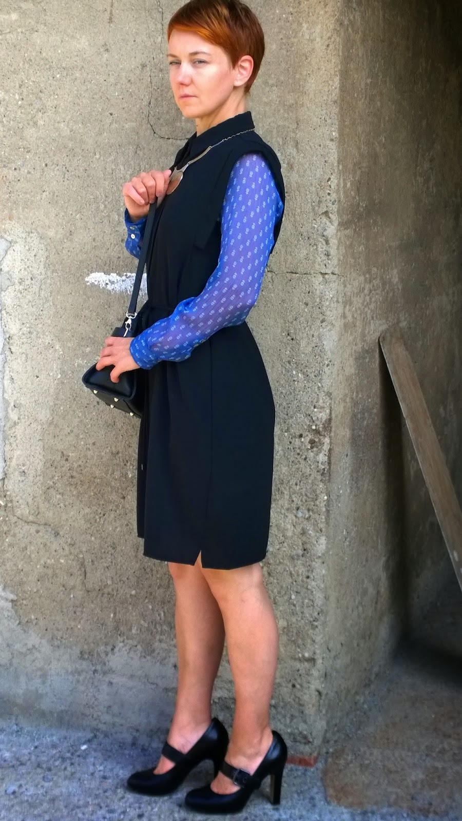 Black shirt dress, printed sheer blouse, black mary jane heels    Buttoned Up! Sheer Underneath   Funky Jungle, fashion & personal style blog