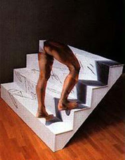 climbing stairs optical illusion