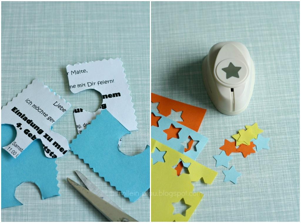 Creadienstag, DIY, selbstgemachte Einladung zum Kindergeburtstag basteln, selbstgemacht, Geburtstag, Geburtstagskarte, Puzzle