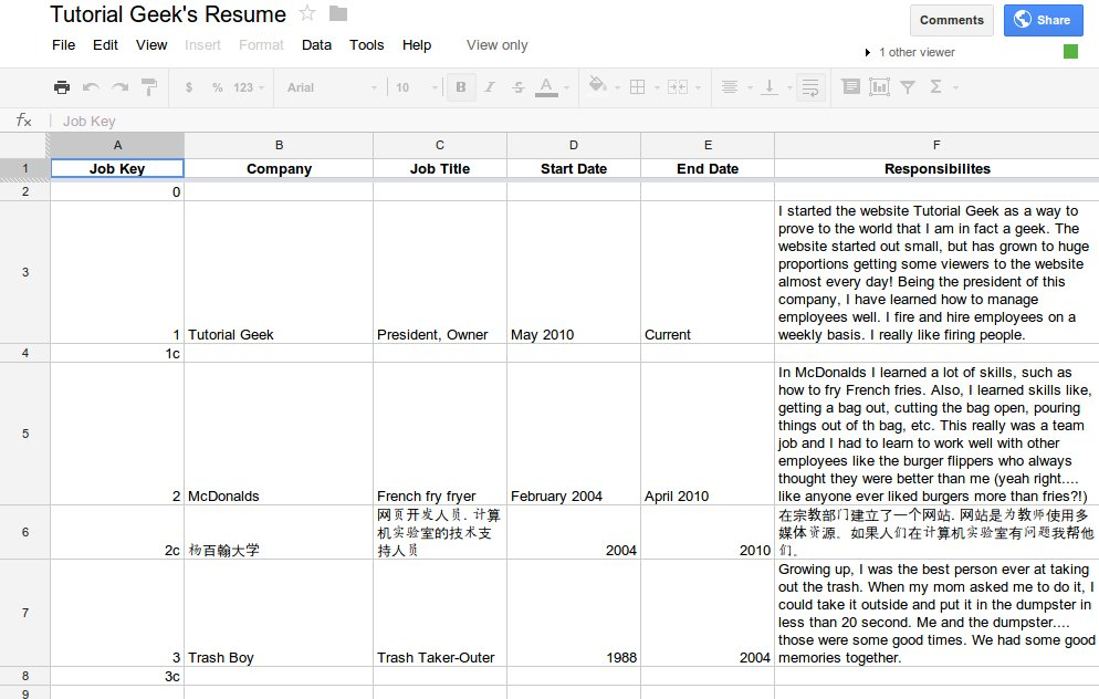 how to make a google doc spreadsheet template for a dynamic resume or cv  free download