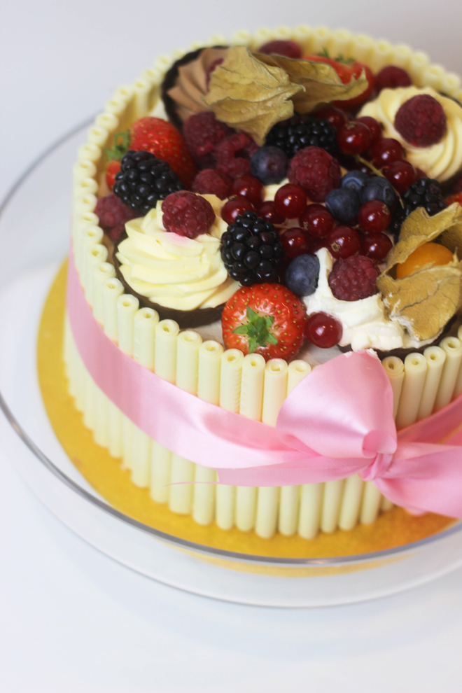 Patisserie Valerie custom made white chocolate and fruit cake
