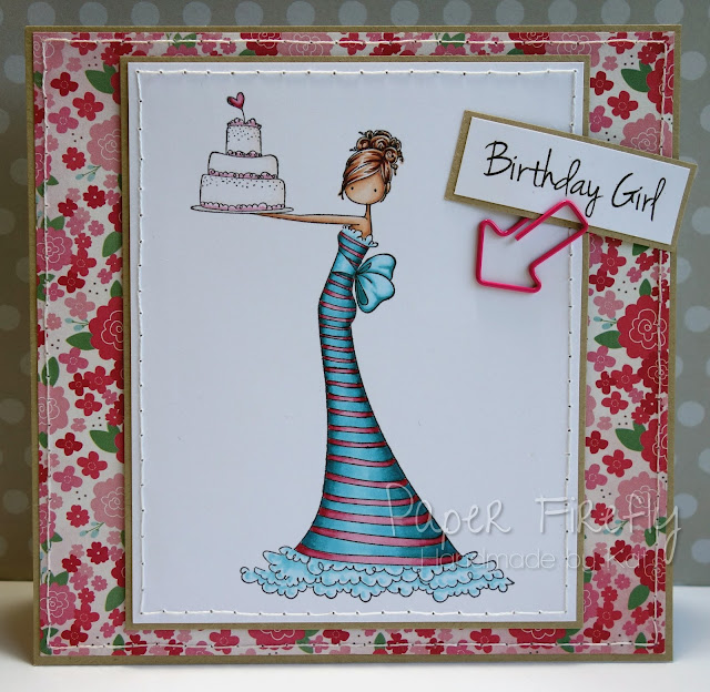 Floral card featuring girl with cake (image by Stamping Bella)