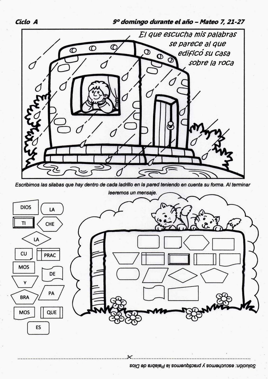 Dibujos Para Colorear Parabola La Casa Sobre La Roca ~ Ideas ...