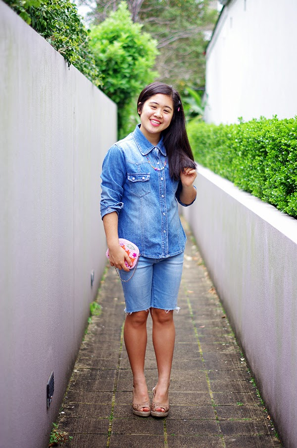 summer, outfit, wedges, heels, colour, colourful, childhood, denim, double denim