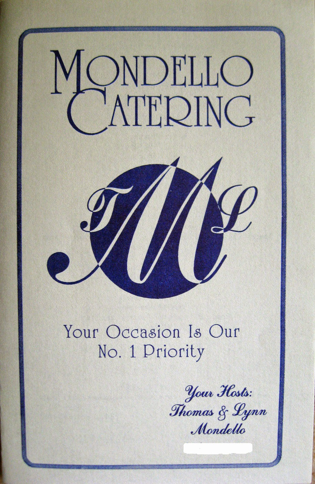 Mondello catering menu
