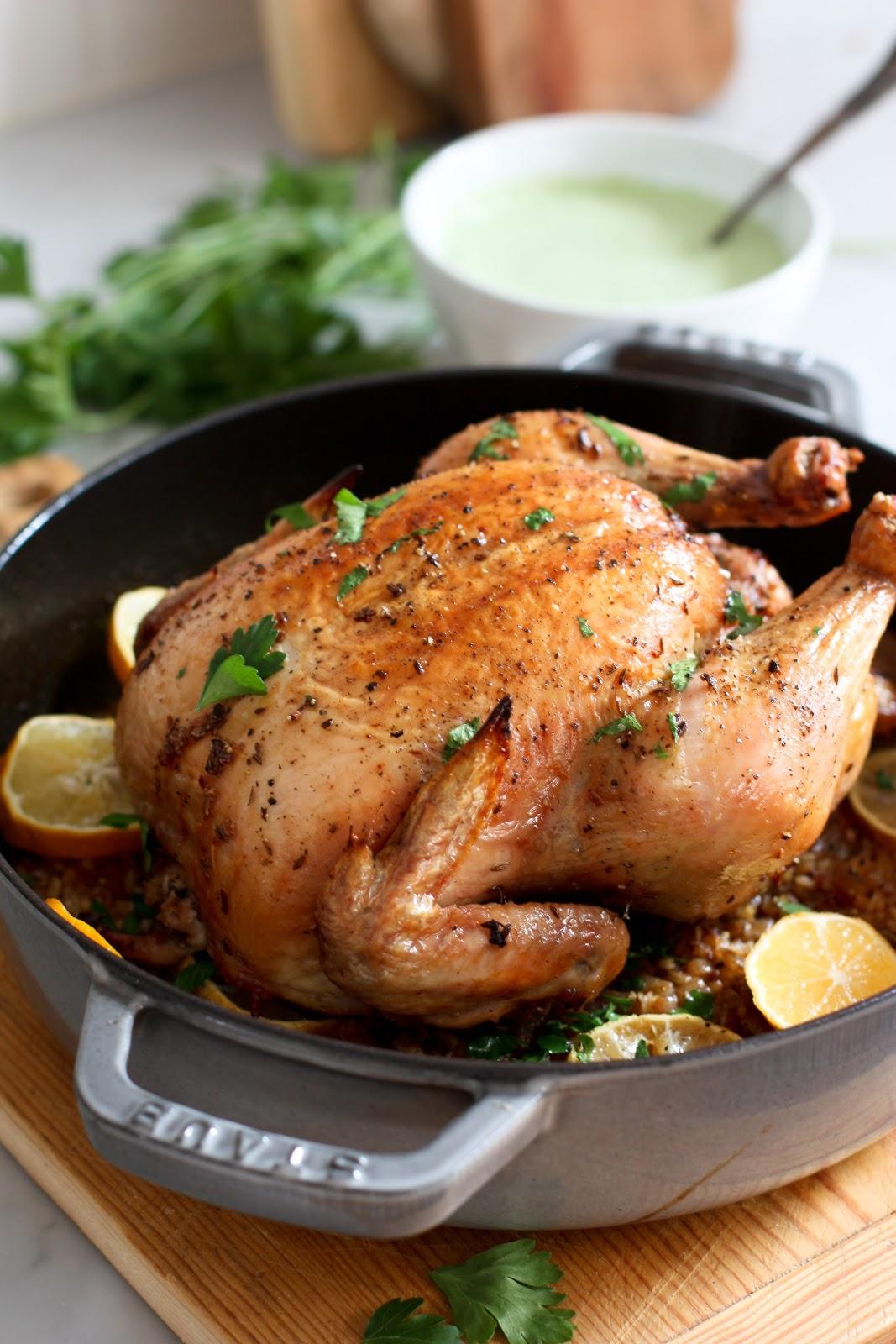 Roasted Chicken w/ Harissa Rub, Saffron Rice and Parsley Sauce
