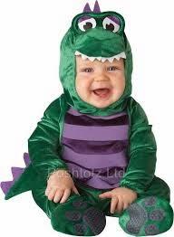 gambar bayi memakai kostum dinosaurus