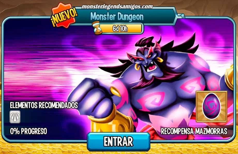 imagen de la actualizacion de las mazmorras de monster legends mobile