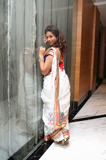 Telugu Television TV Actress Hemalatha  Pictures in White Saree at  Birthday Party 0035.JPG