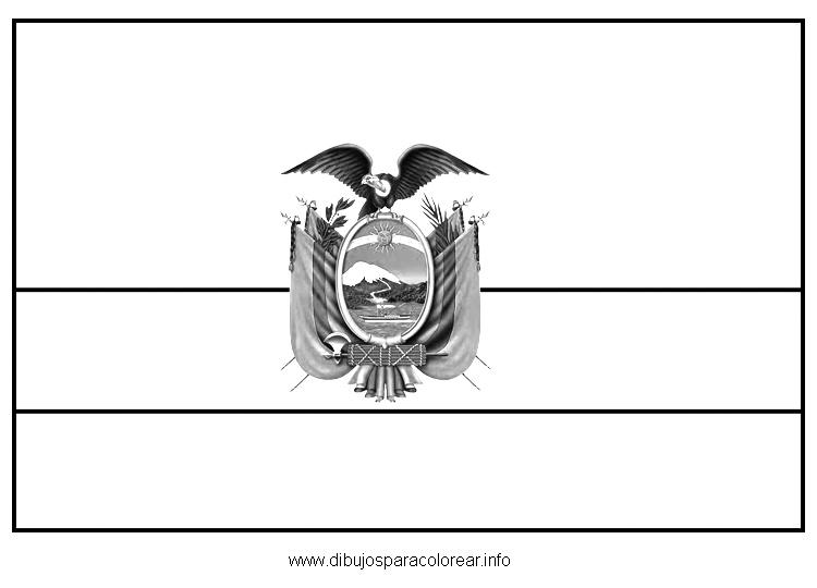 LAMINAS PARA COLOREAR - COLORING PAGES: Mapa y Bandera de Ecuador para