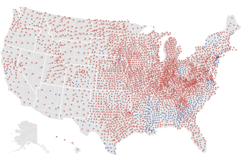 Common Cents Maps Of US Presidential Election Results By County - 2012 red blue us map