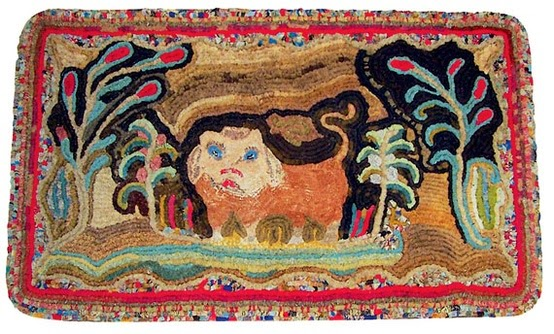 So Then I Wanted To Hook Another Lion Adaptation And Pulled The Elements I  Liked Best From Two Particular Antique Hooked Rugs ~ This Is My Adaptation  Of ...