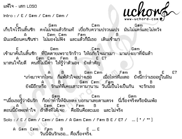 คอร์ดเพลง - แพ้ใจ เสก โลโซ (Sek LoSo)