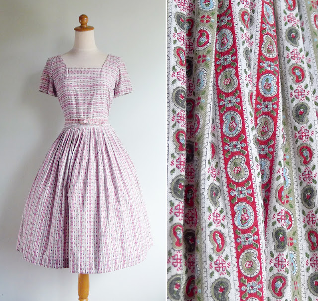 vintage 1950's or 1960's cotton day dress