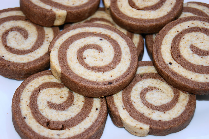 Mocha swirl cookies coffee and chocolate shortbread doughs make for