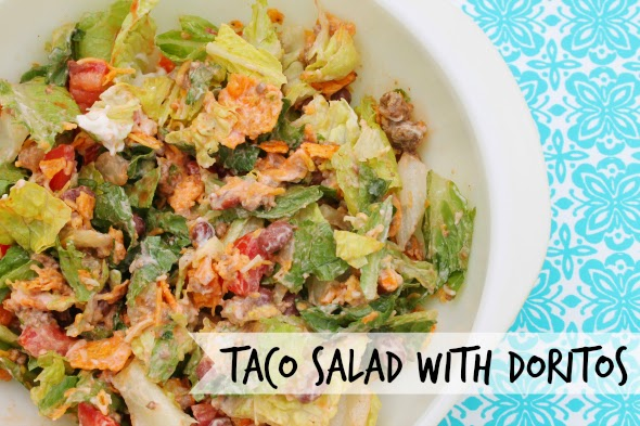 Taco Salad, with Doritos! --- One of the most popular pins on Pinterest!