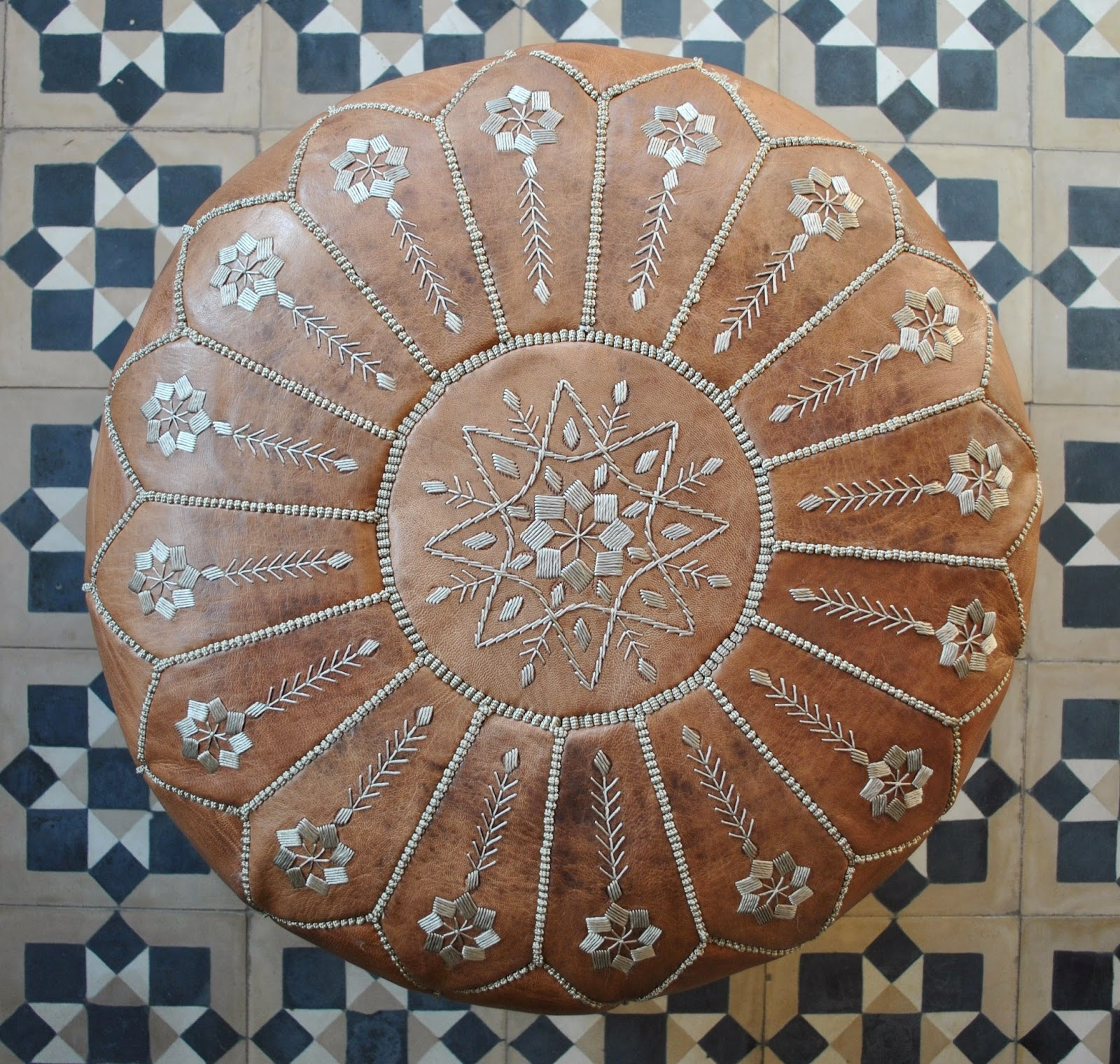 beyond marrakech moroccan leather pouffes - mlp moroccan leather pouffe vintage style with beautiful intricateembroidery measures approx  x  cm price €  or us