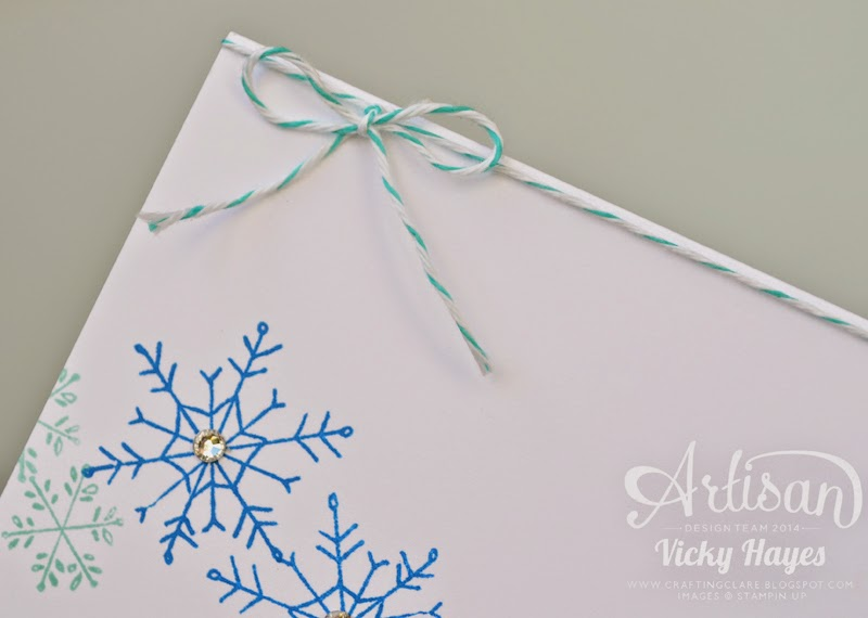 UK Stampin' Up demonstrator Vicky Hayes shows how to embellish with bakers twine and gems