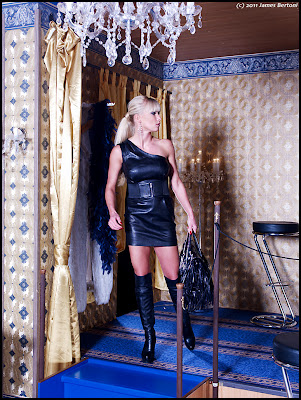 Sexy Fetish Blonde in Leather Dress and Boots