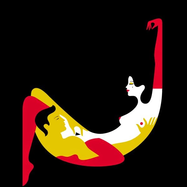 the hammock position of the kama sutra as illustrated by Malika Favre Jolly