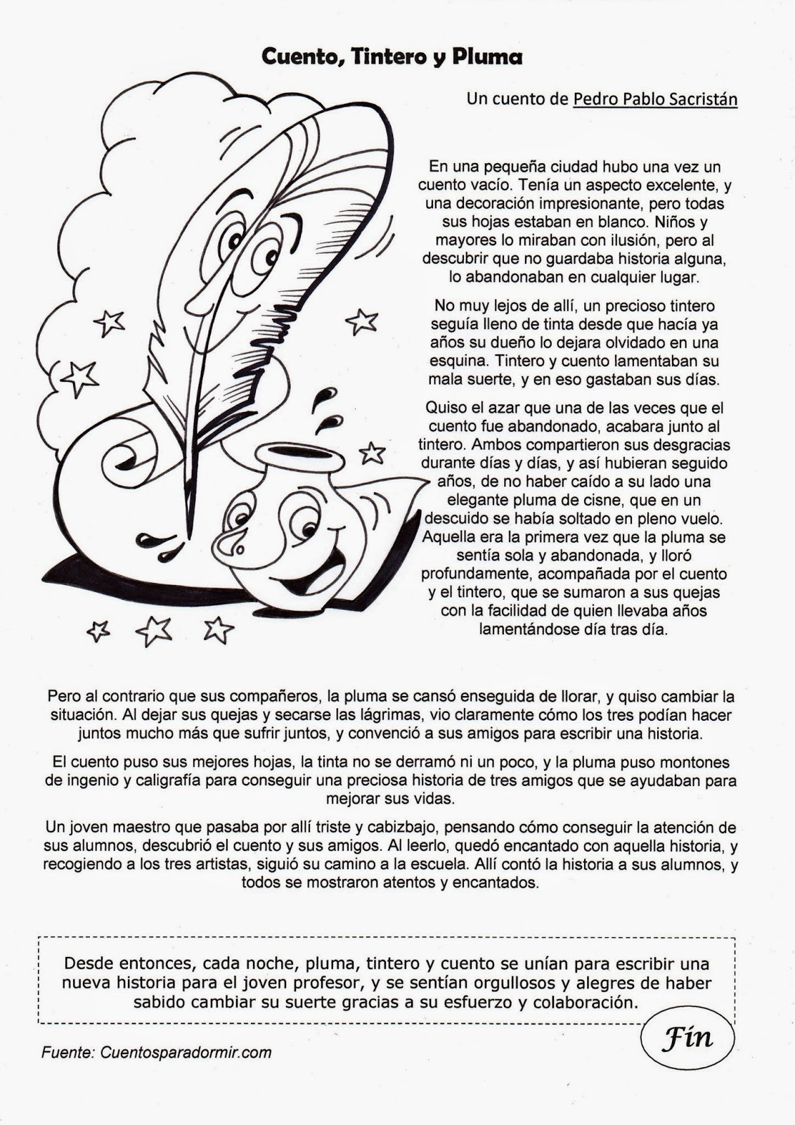 El Rincón de las Melli: Cuento: Cuento, tintero y pluma