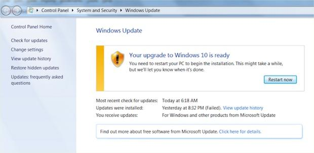 "Microsoft ""Forced"" update To Windows 10 1"