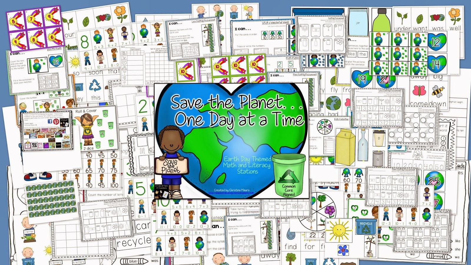 http://www.teacherspayteachers.com/Product/Save-the-PlanetOne-Day-at-a-Time-Earth-Day-Math-Literacy-Stations-636154