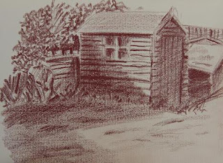 Pencil drawing of a shed in the garden
