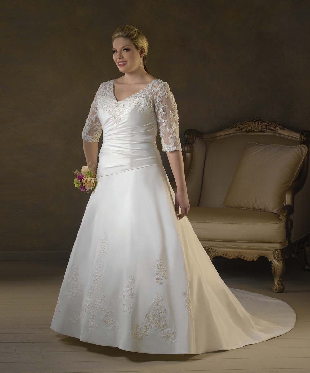 Plus size 3 4 lace sleeves wedding dress gown for Plus size wedding dresses with color and sleeves