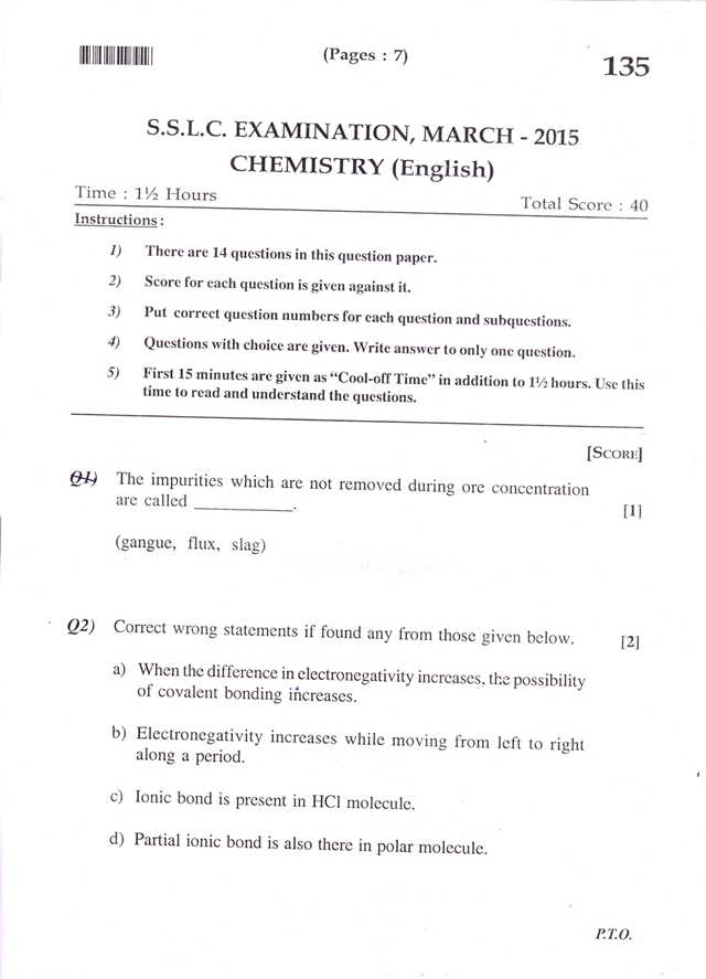 Kerala SSLC Examination 2015 Chemistry Question Paper