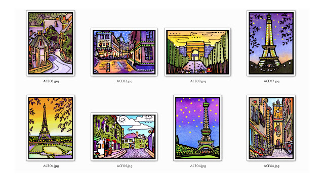 Paris France ACEO Art Cards by Lynne Neuman