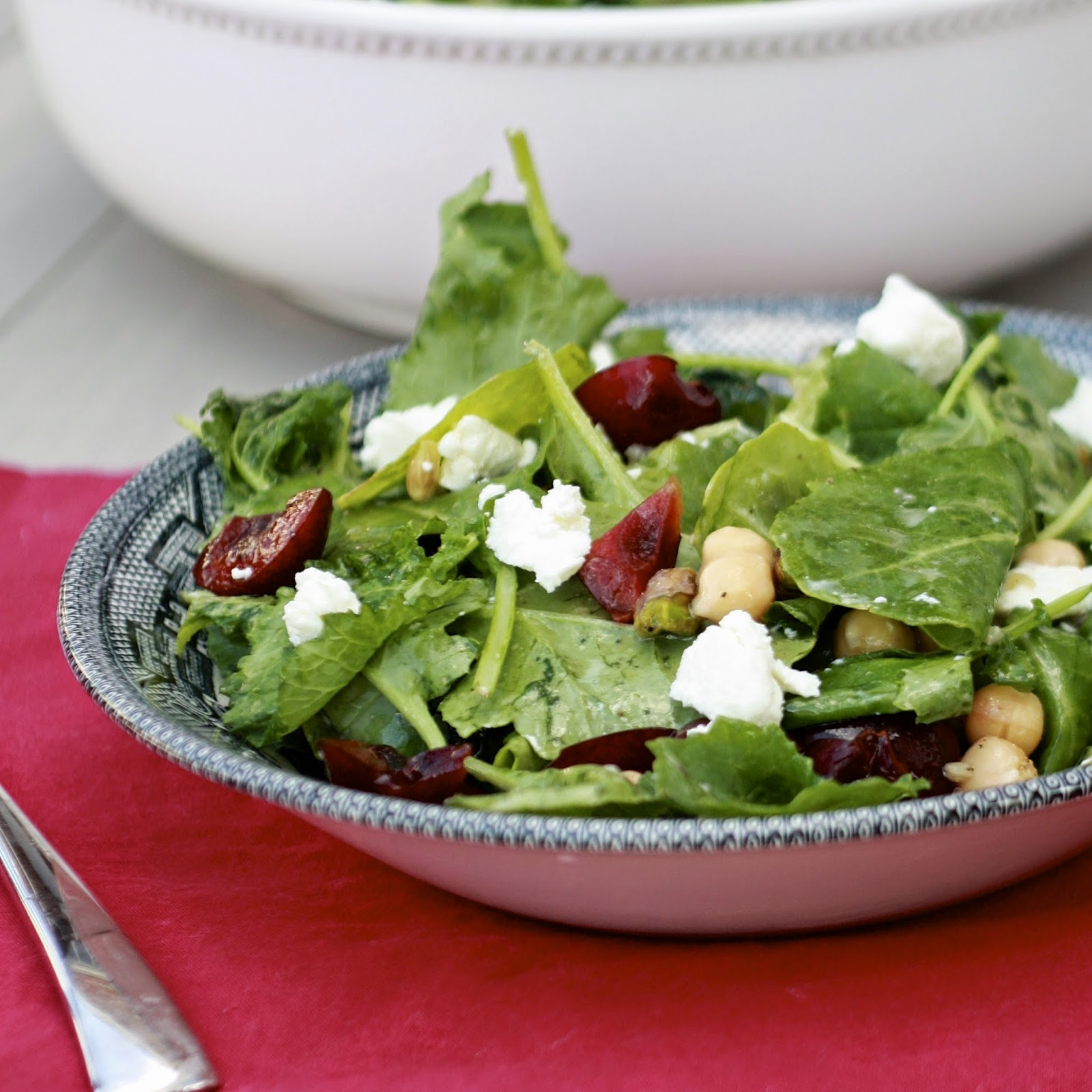 Baby Kale Salad with Cherries, Chickpeas, and Pistachios | The Sweets Life