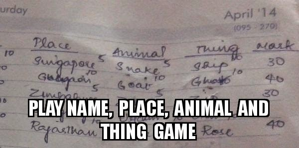 name place animal thing game