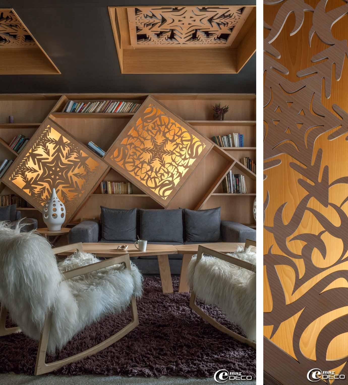 Fauteuils à bascule 'Cortina' designé par Kaki Kroener pour 'Refuge', lampe en céramique ajouré 'Les Héritiers'