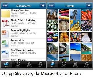 O app SkyDrive, da Microsoft, no iPhone