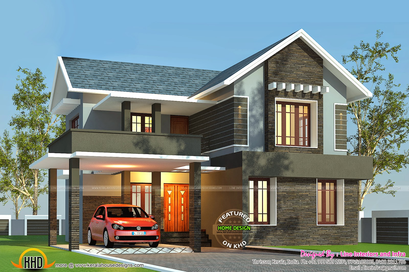 2412 sq ft beautiful home kerala home design and floor plans for American house designs and floor plans